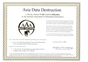 Selecting your supplier to take care of your old computer IT devices, check the Certifacation. We are NAID (National Association of Information destruction) Certified, one of the most recognized organization in the world 9